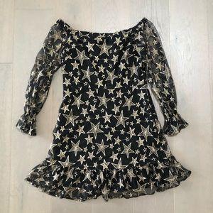 Sam Edelman Star Embroidery Off Shoulder Dress